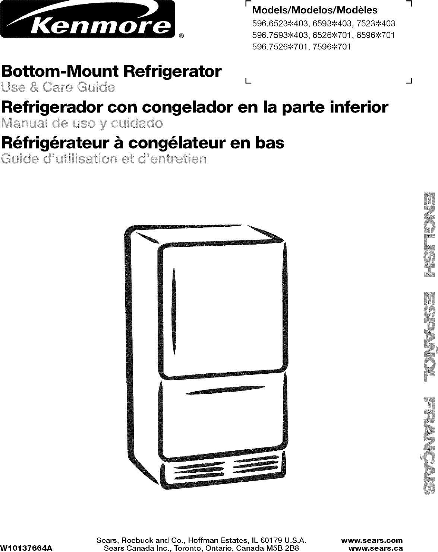 Kenmore Freezer 596 6523 403 Users Manual