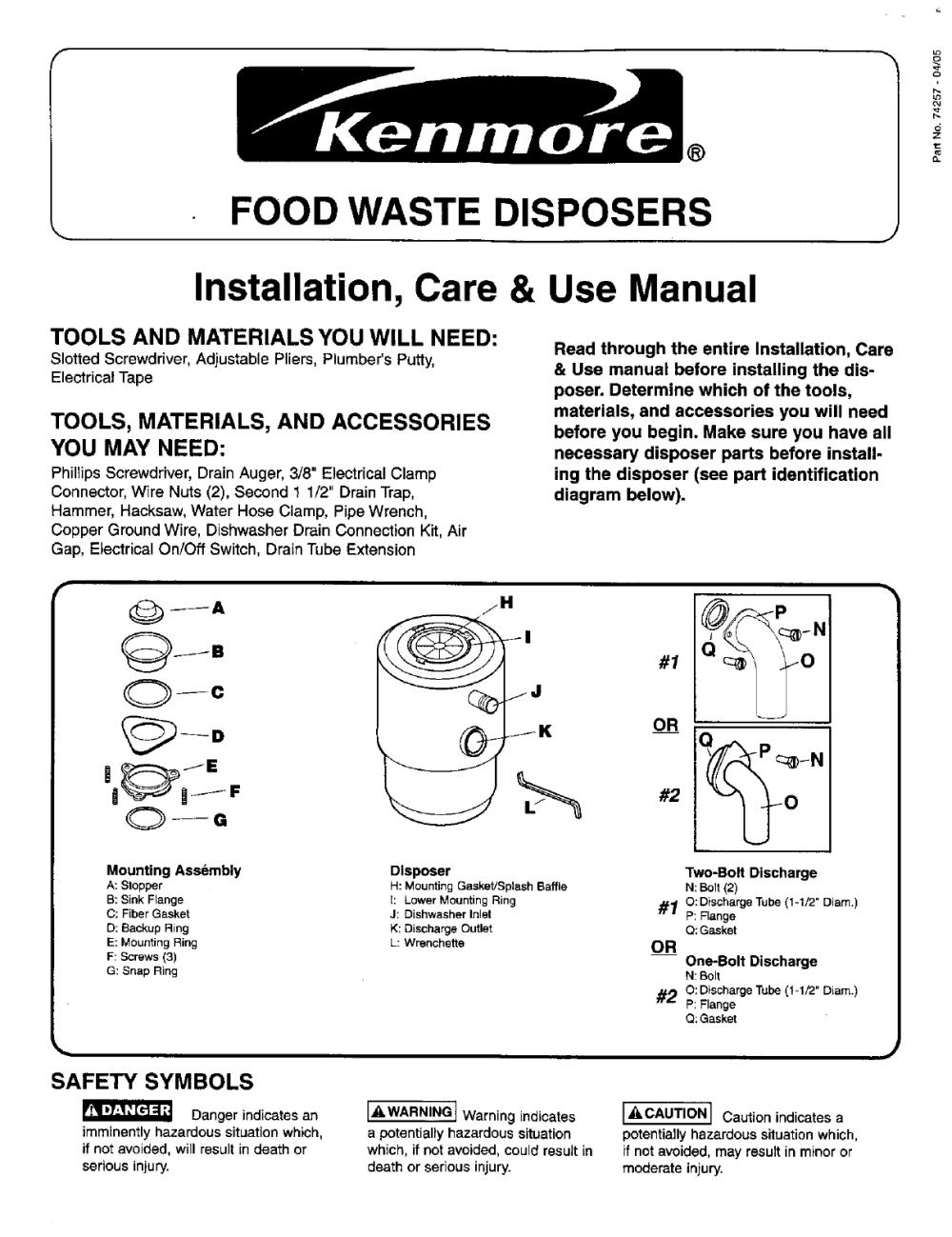 medium resolution of kenmore garbage disposal manual l0411040 kenmore garbage disposal owner s manual kenmore garbage disposal installation guides