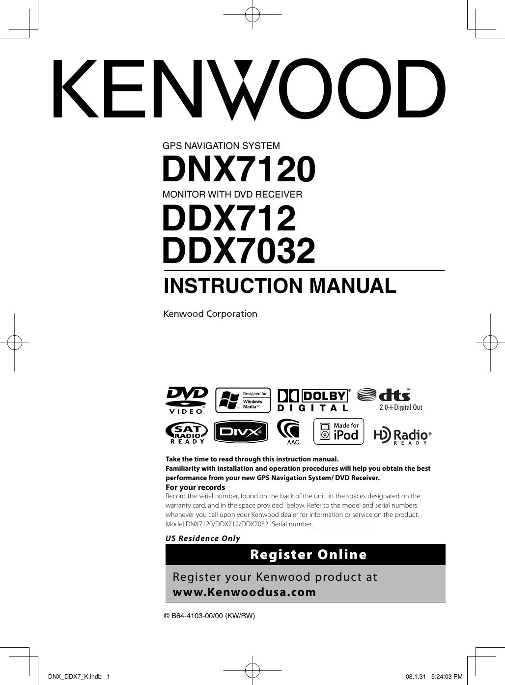 Kenwood Dnx7120 Owner S Manual DNX_DDX7_K.indb
