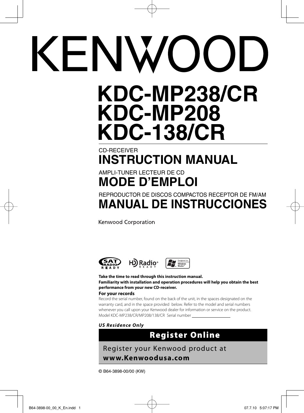 Kenwood Kdc 138 Radio Cd Player Instruction Manual B64