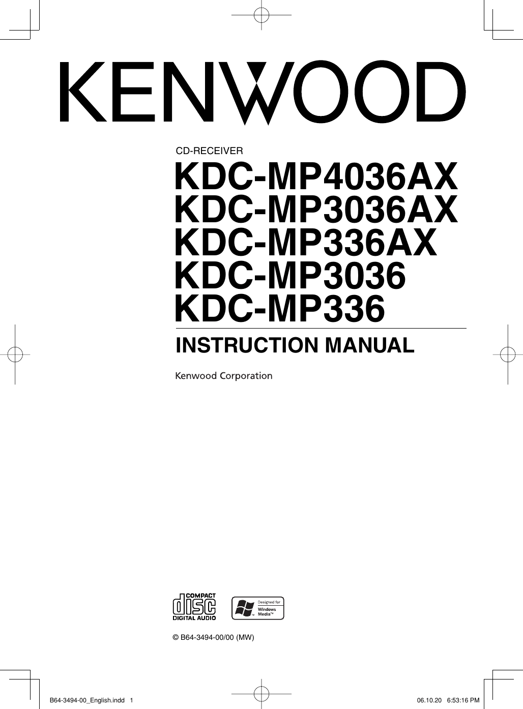 Kenwood Kdc Mp3036 Users Manual B64 3494 00_English