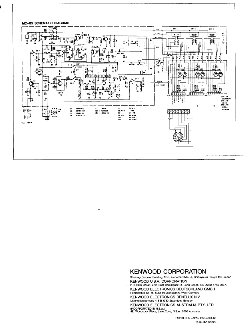 Kenwood Microphone Mc 85 Users Manual