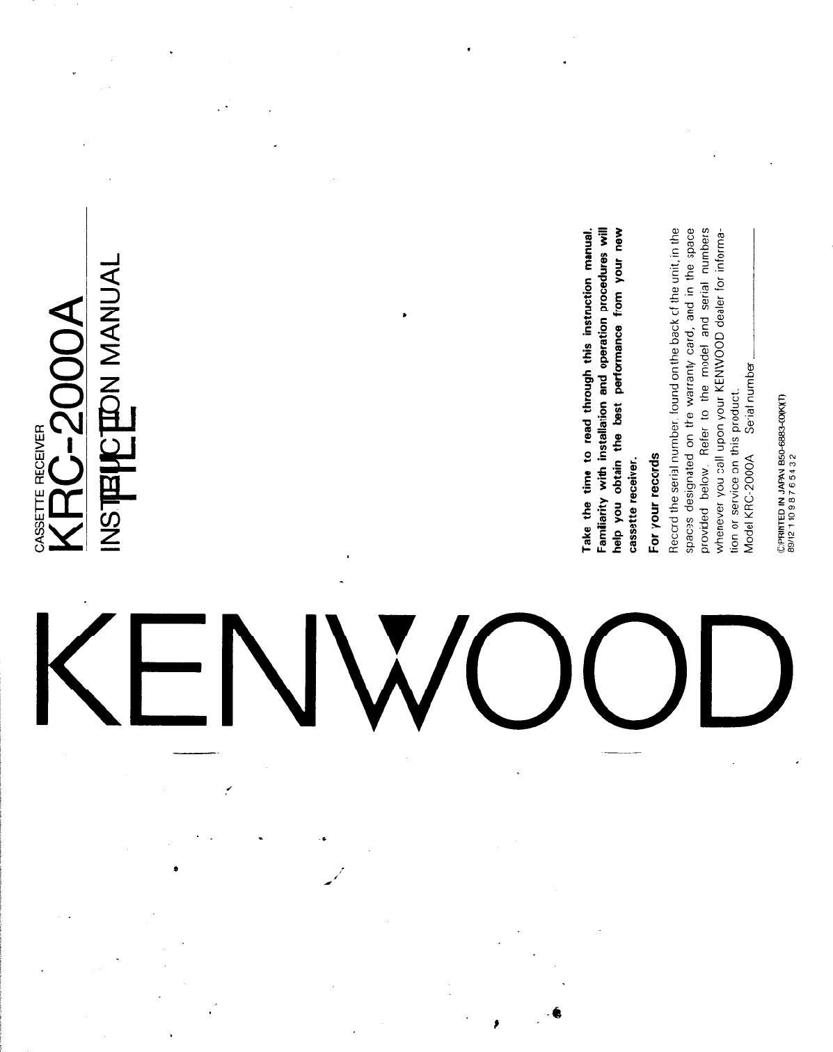 Kenwood Krc 2000A Owner S Manual