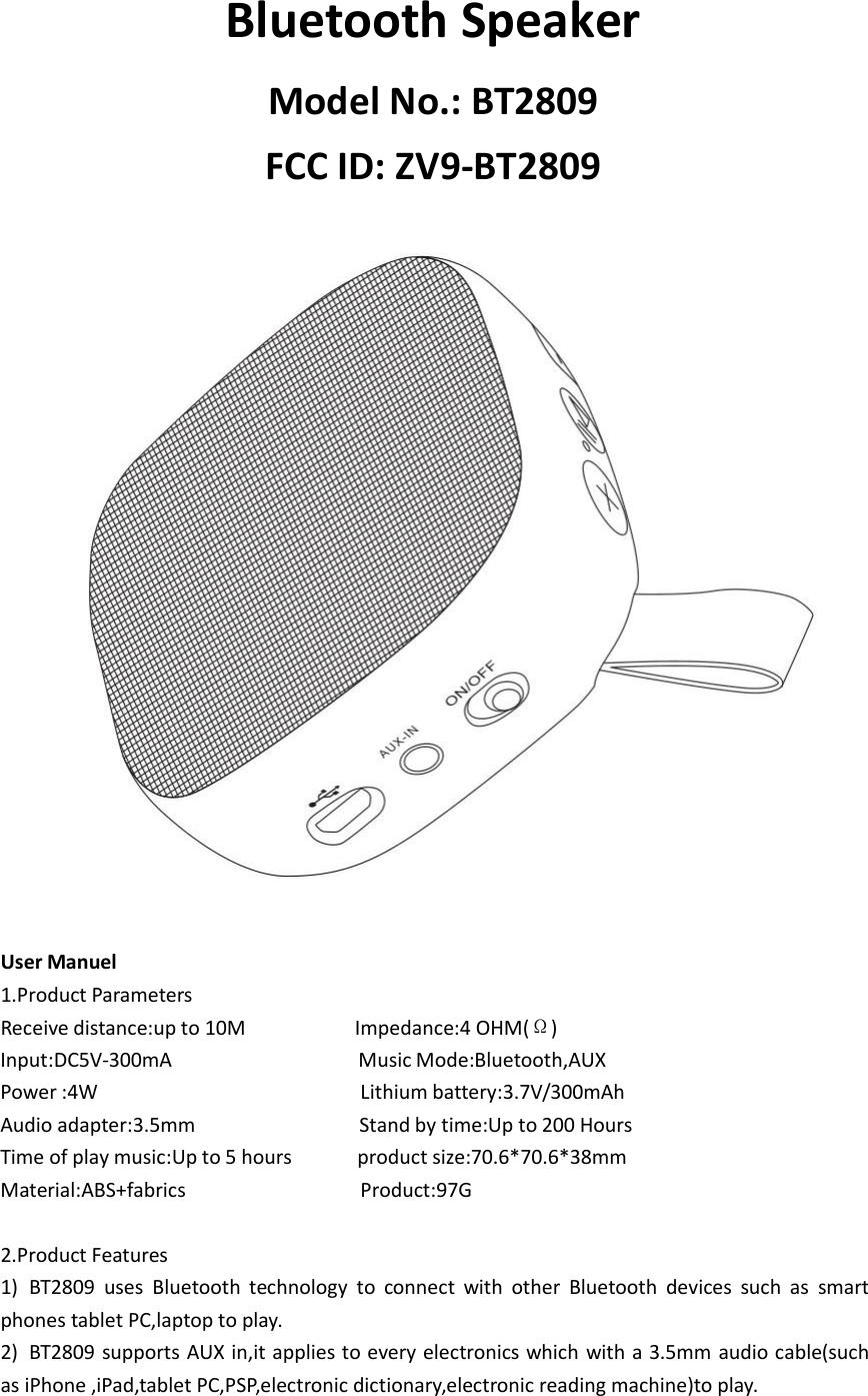 Kingree Electronic BT2809 Bluetooth Speaker User Manual