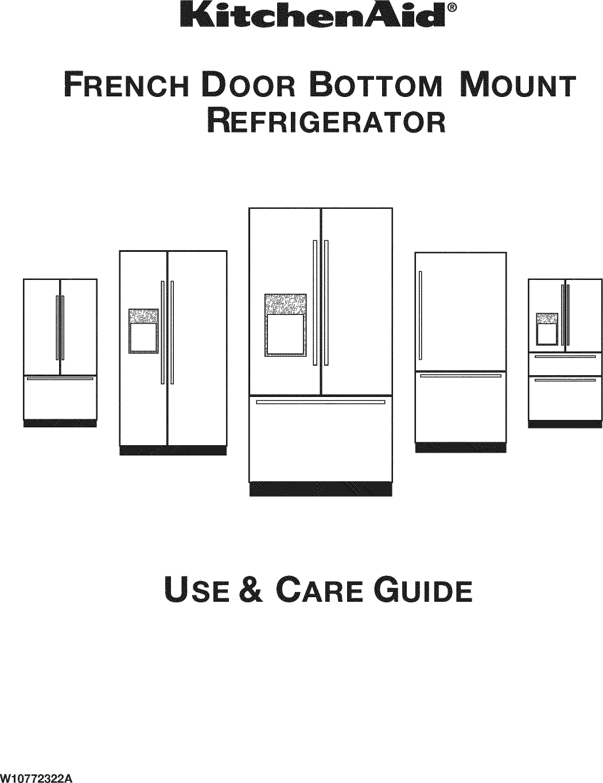 Kitchenaid KRFF507EBL00 User Manual REFRIGERATOR Manuals