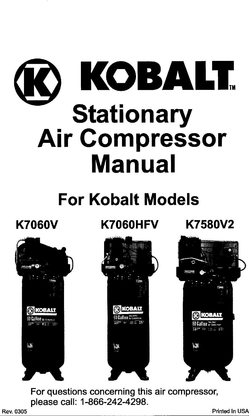 Kobalt K7060Hfv Users Manual