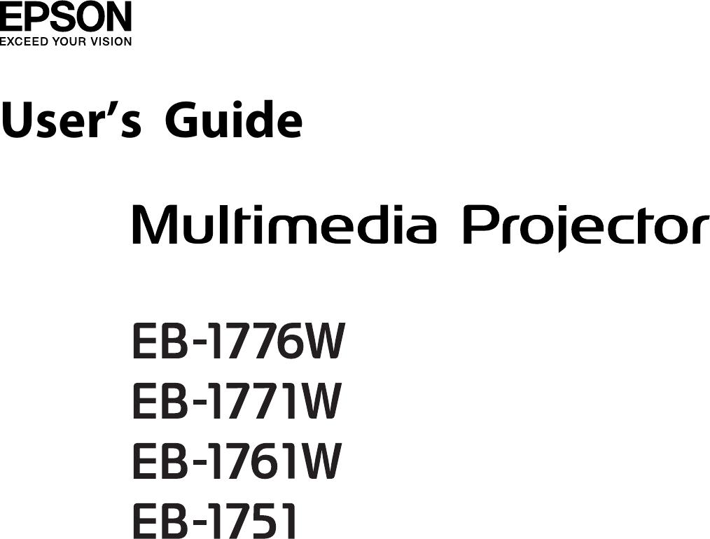 EPSON EB 1776W/1771W/1761W/1751 User's Guide Epp 1751 um