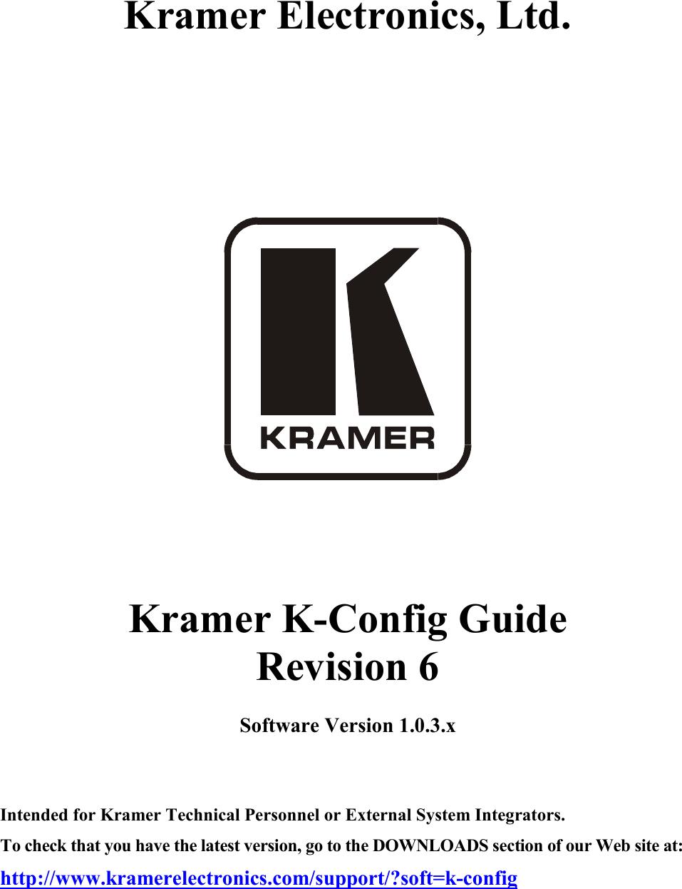 SL-1N Kramer Electronics Controllers; Master Rom