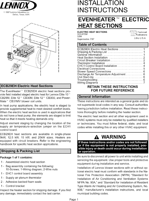 small resolution of page 1 of 12 lennox air handler auxiliary heater kit manual l0805584