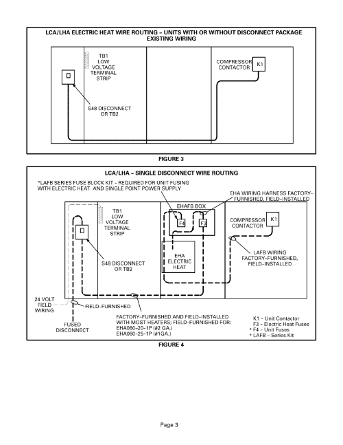small resolution of lca lha electric heat wire routing units with or without disconnect package