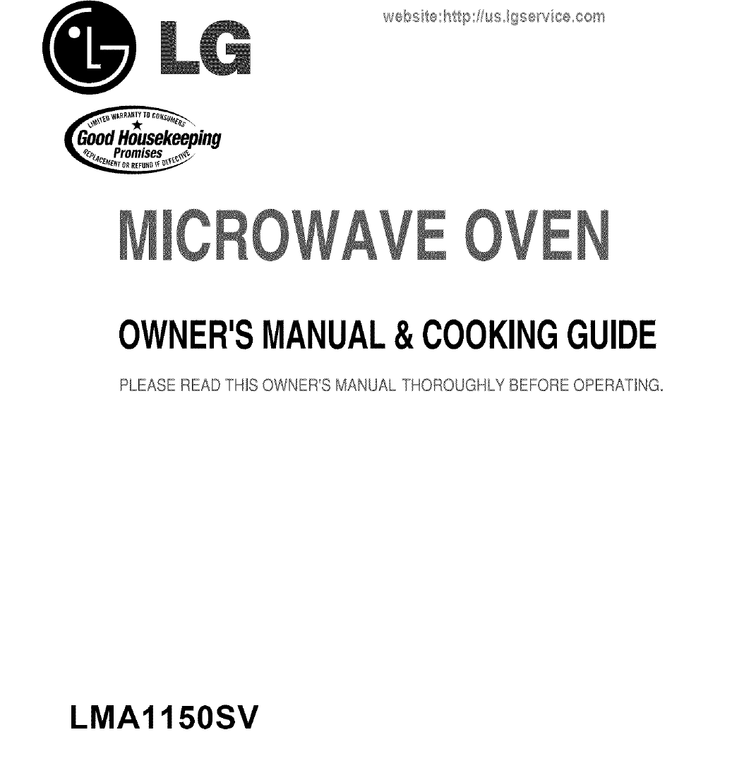 LG LMA1150SV User Manual MICROWAVE Manuals And Guides L0707338