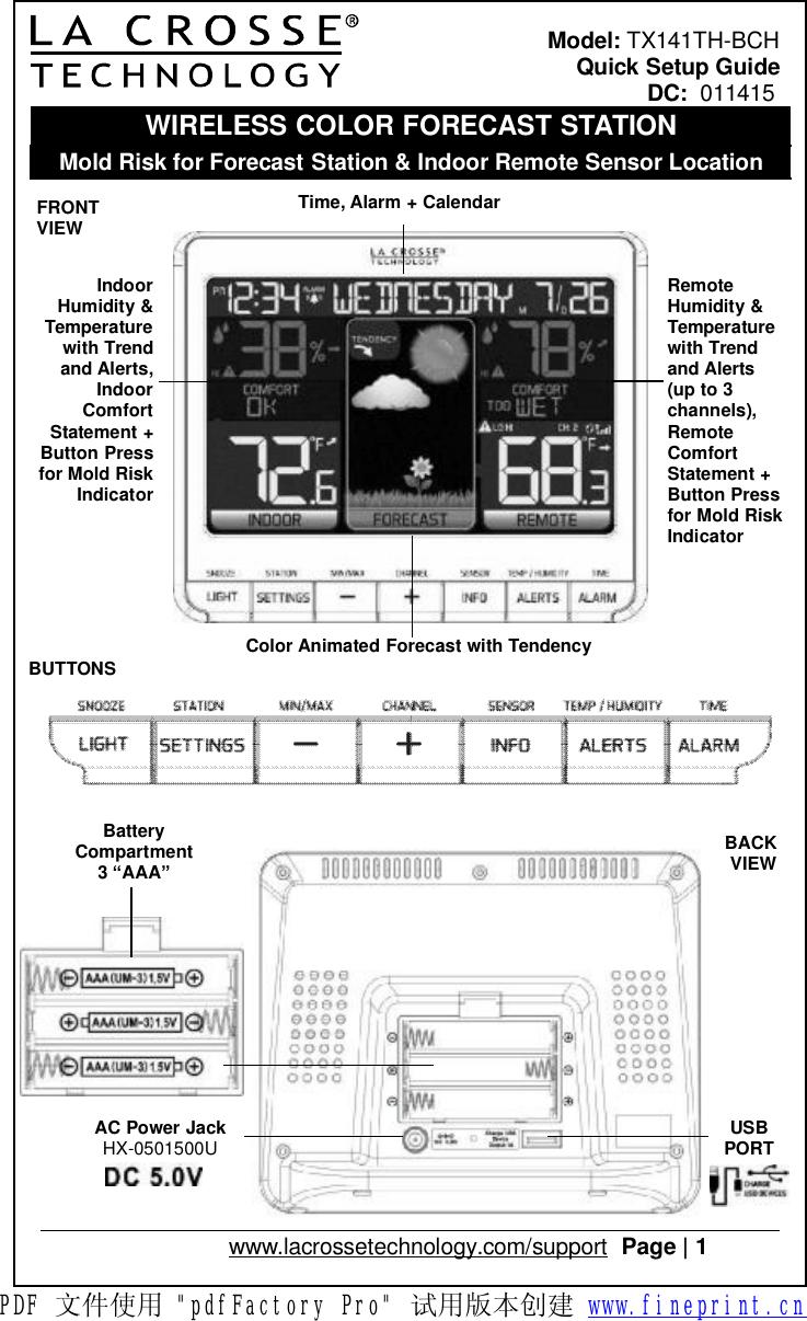 La Crosse Technology TX141TH-BCH REMOTE SENSOR TEMPERATURE