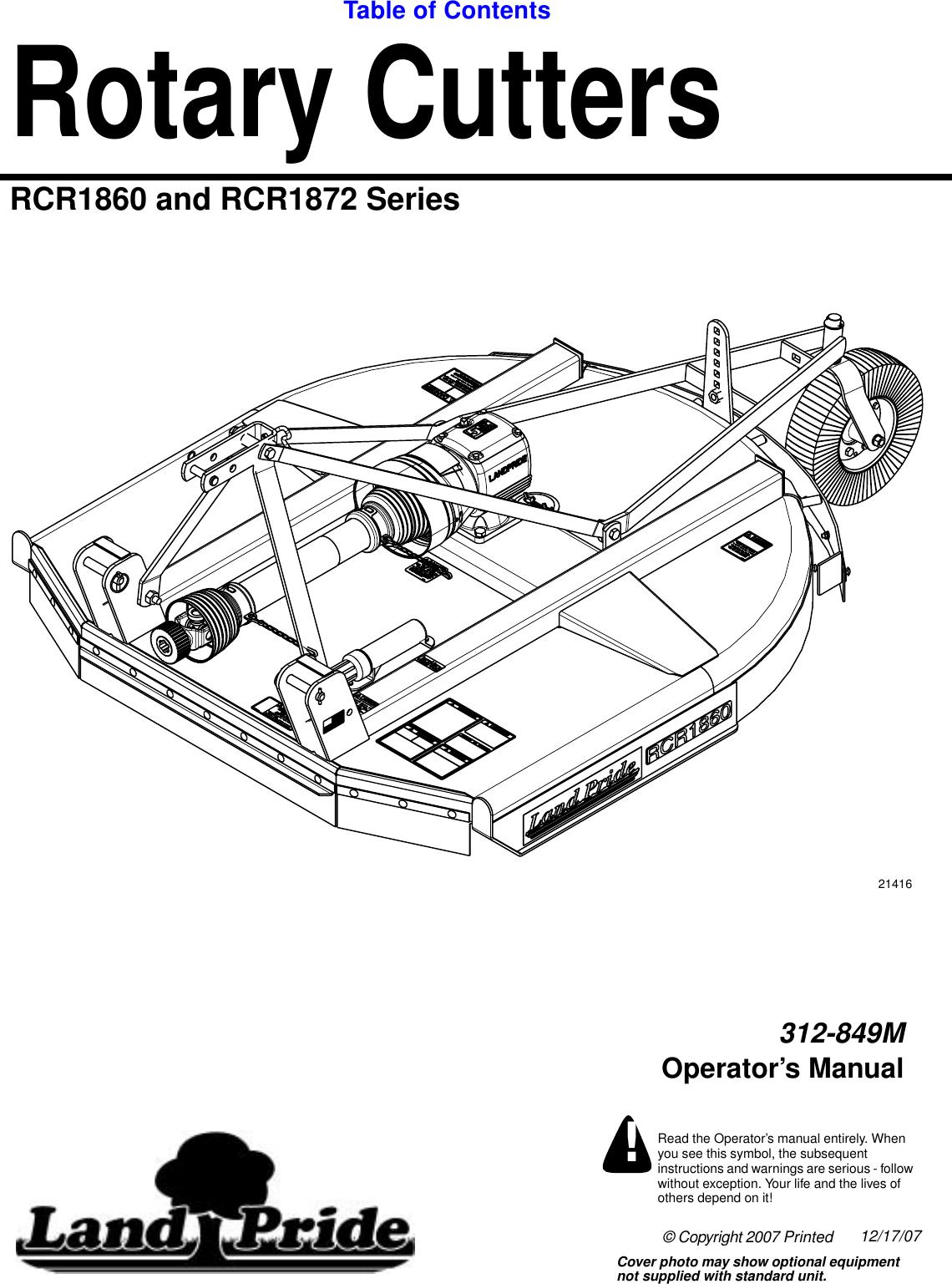 Land Pride Rotary Cutters Rcr1860 Users Manual RCR1872