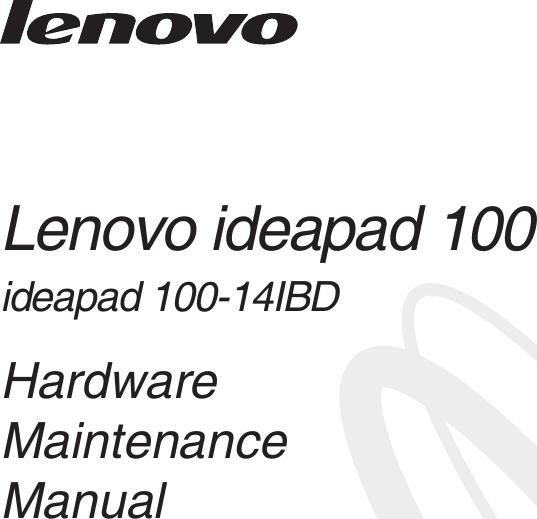 Lenovo Ideapad 100 14 Ibd Hmm 201602 14IBD User Manual