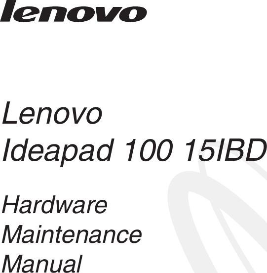 Lenovo Ideapad 100 15 Ibd Hmm 201508 15IBD User Manual