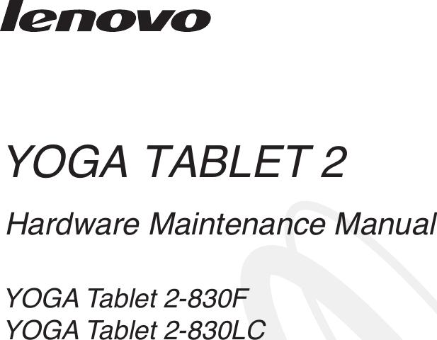 Lenovo Yoga Tablet2 8A 830 F Lc Hmm En V1.0 20140916 HMM