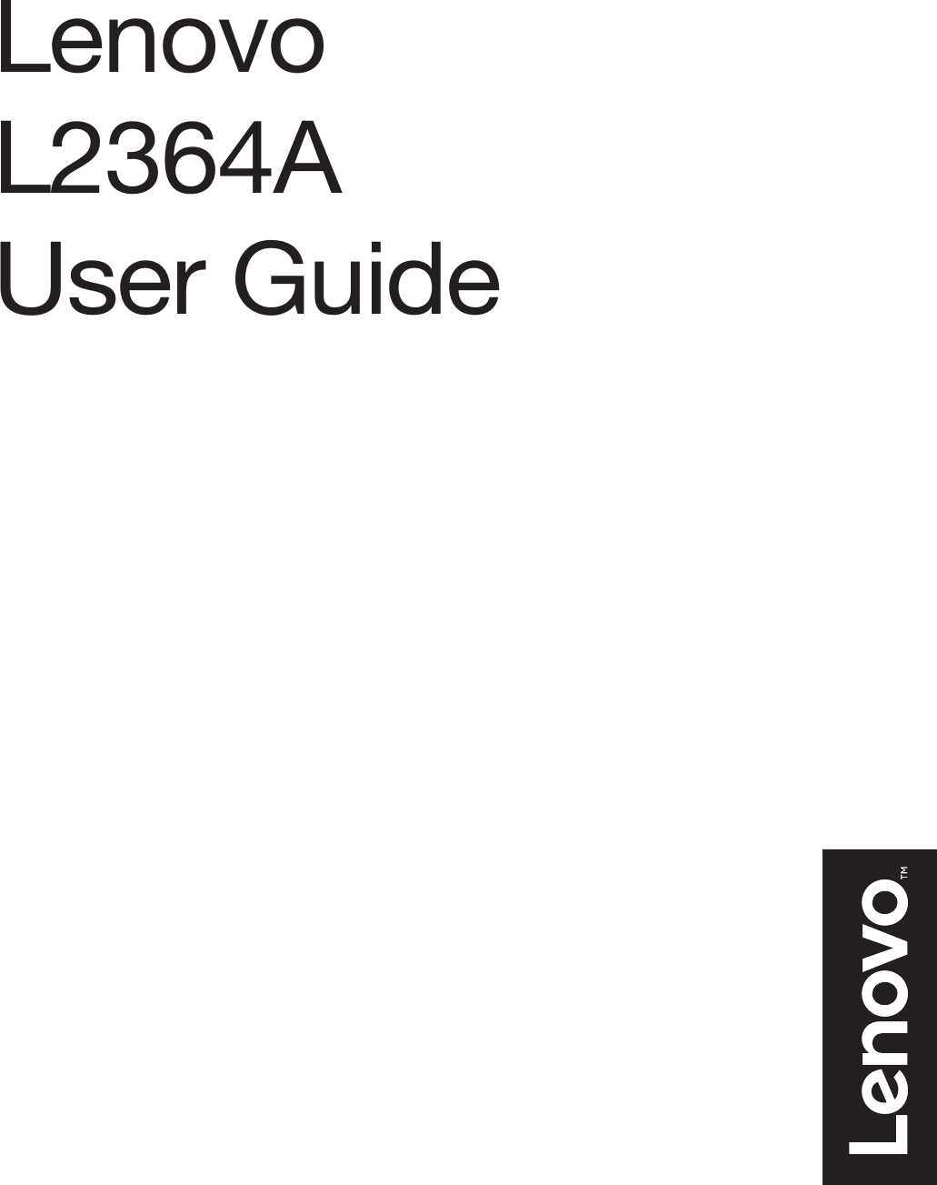Lenovo Li2364D En V2.0 201609 User Manual (English) Guide