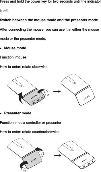 Lenovo MOBTJLL Lenovo YOGA Mouse User Manual