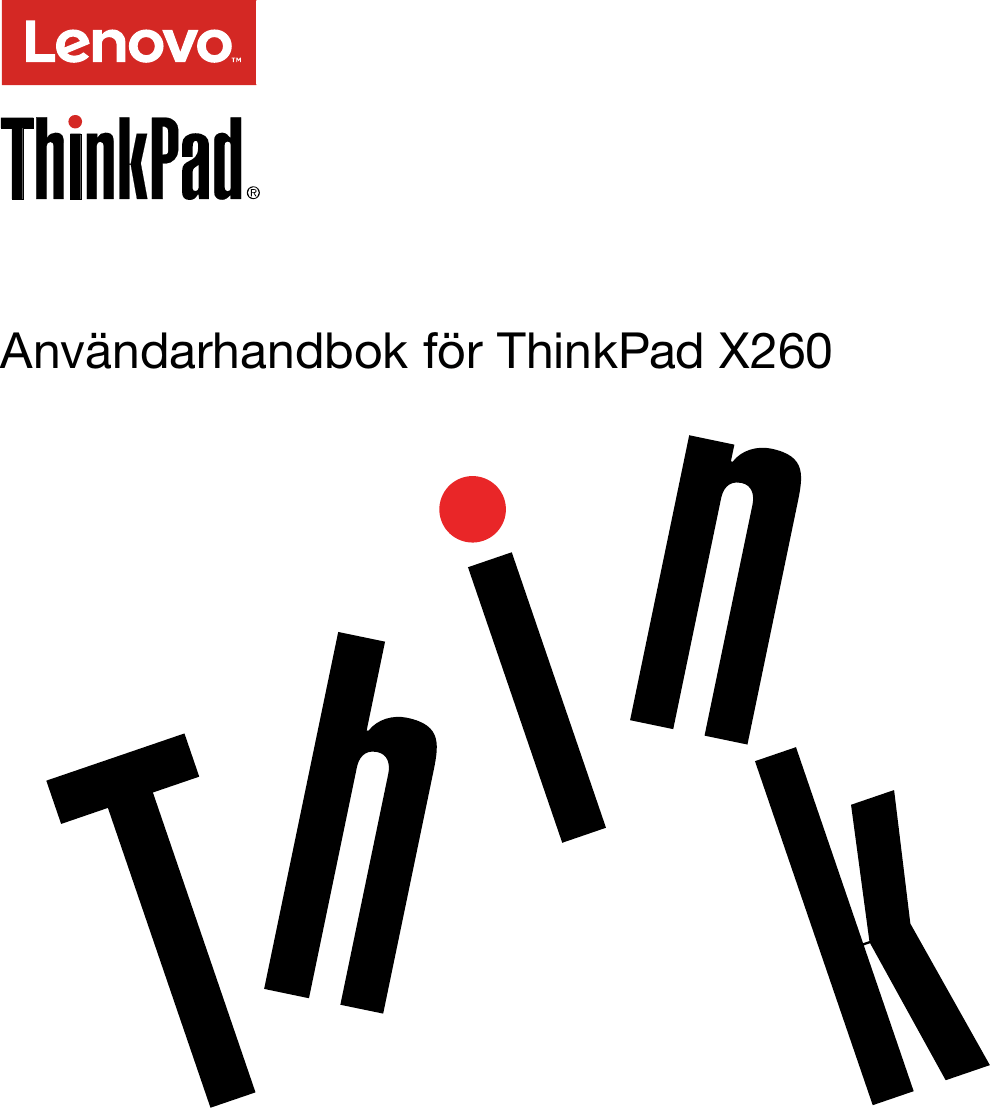 Lenovo X260 Ug Sv User Manual (Swedish) Guide Think Pad