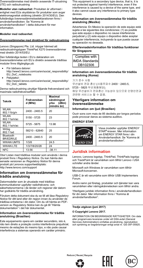 Lenovo X270 Swsg Sv User Manual (Swedish) Safety, Warranty