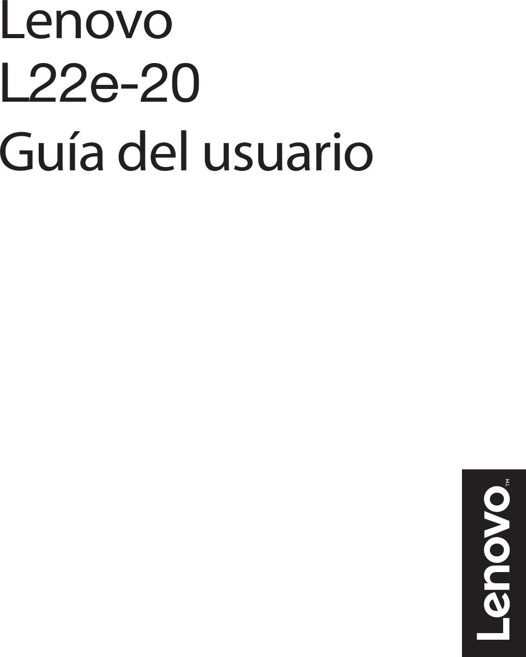 Lenovo L22e 20_Spanish Guía Del Usuario 20 Monitor Ug Es
