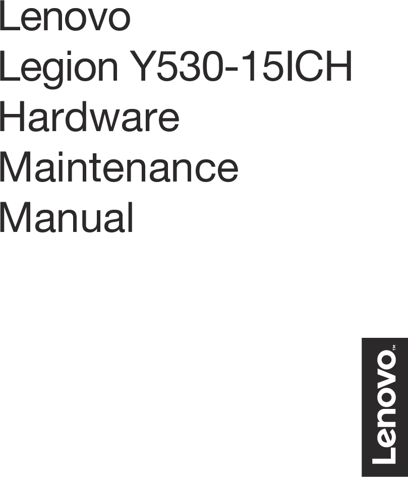 Lenovo Legion Y530 15ICH HMM Hardware Maintenance Manual