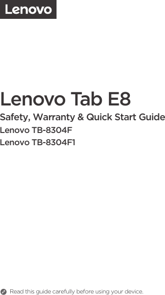 Lenovo (English) Safety, Warranty & Quick Start Guide TAB