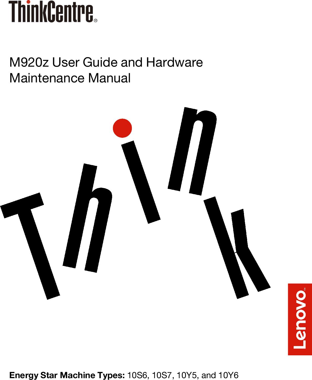 Lenovo M920z User Guide And Hardware Maintenance Manual