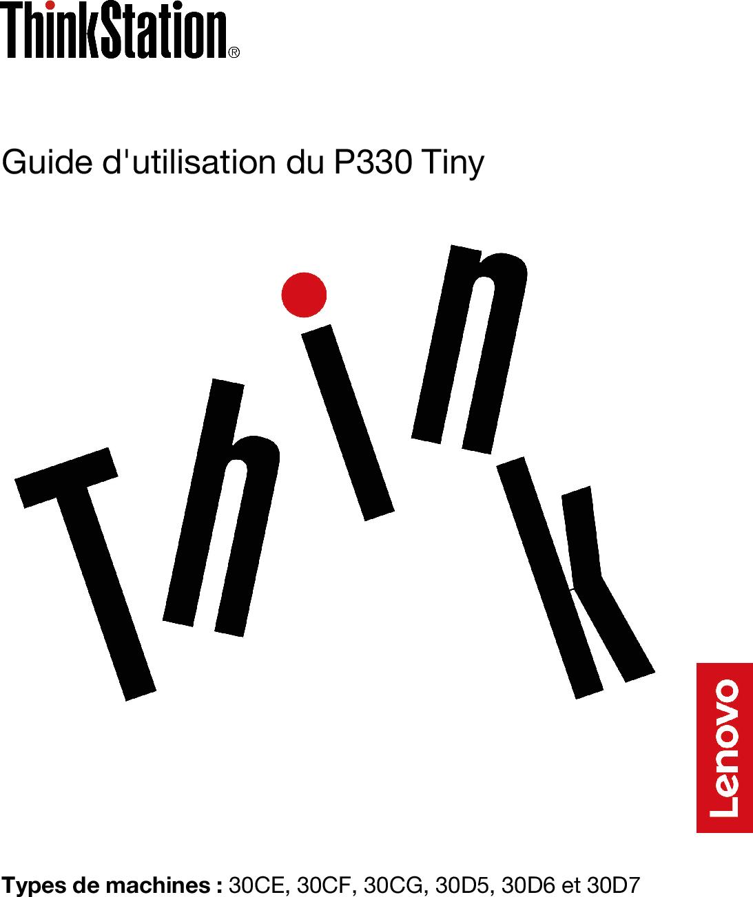 Lenovo Guide D'utilisation Du P330 Tiny (French) User