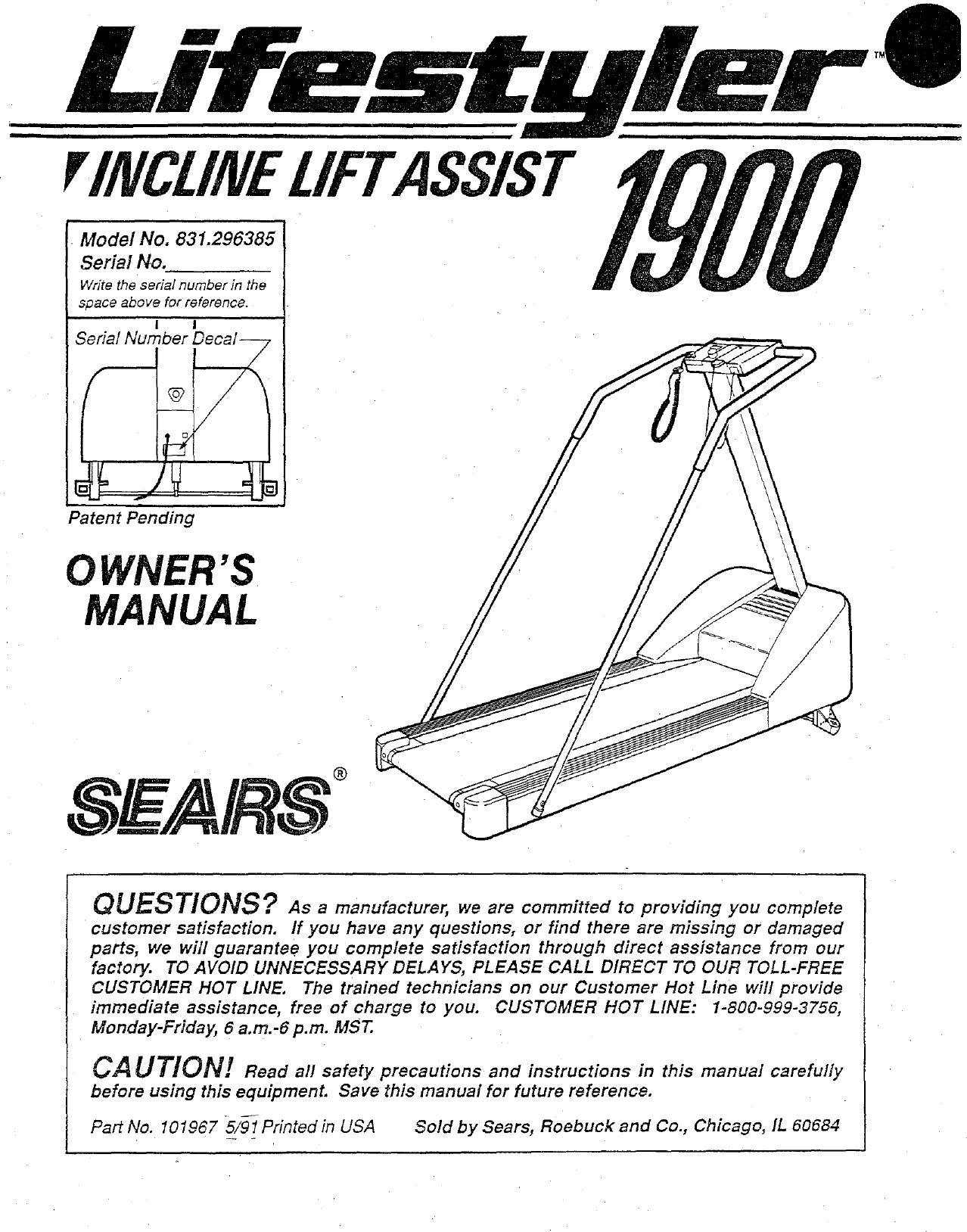 Lifestyler 831296385 User Manual 1900 TREADMILL Manuals