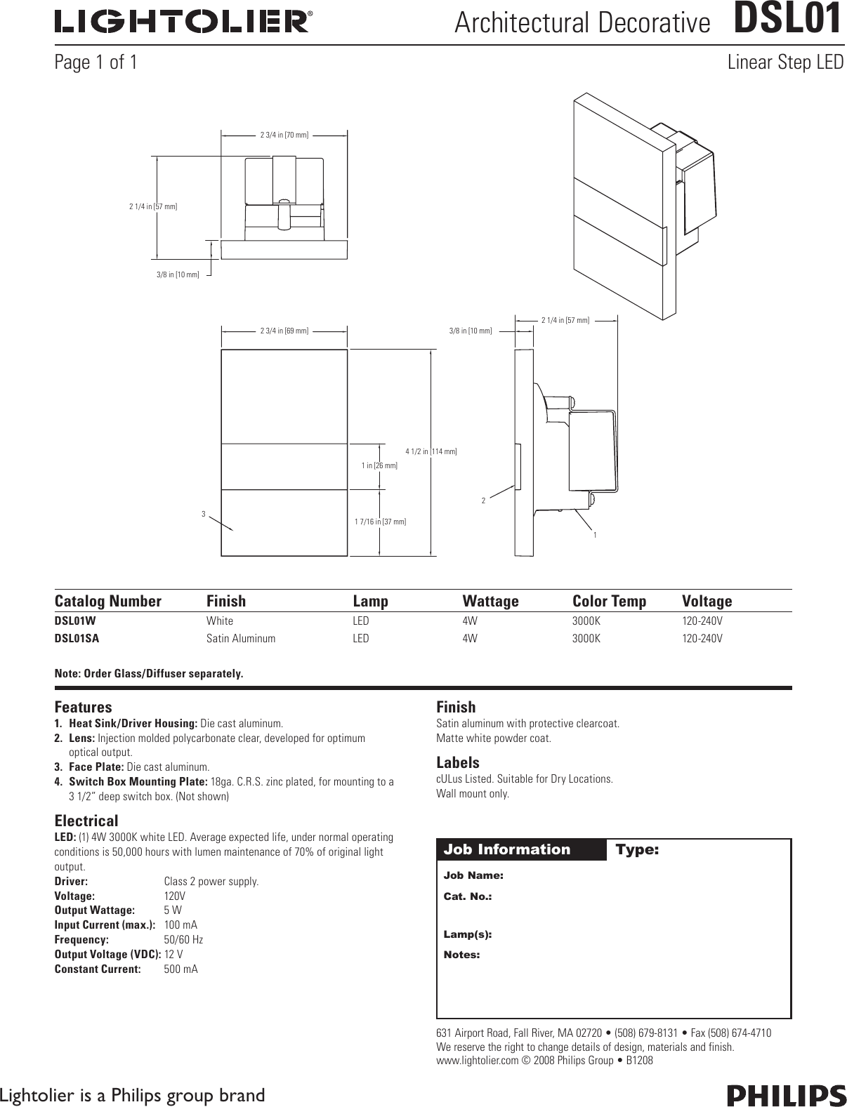 Lightolier Architectural Decorative Dsl01 Users Manual