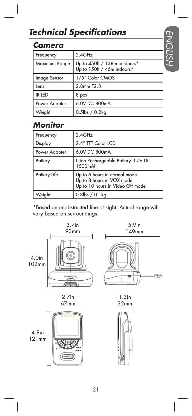 Lorex Technology C2415 2.4G Baby Monitor BB2415 User