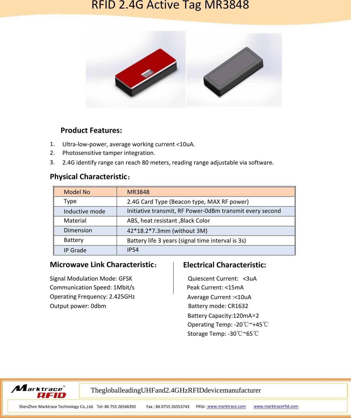 Marktrace Mr 2 4g Active Rfid Tag User Manual Manual