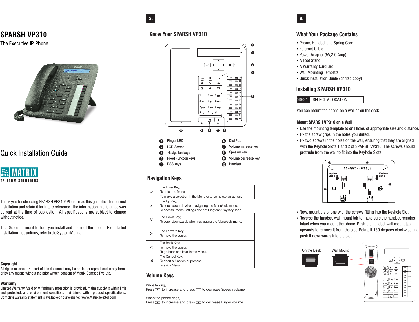 MATRIX COMSEC PVT VP310 SPARSH VP User Manual SPARSH VP310