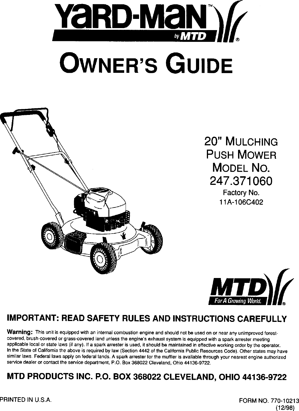 MTD 11A 106C402 User Manual LAWN MOWER Manuals And Guides