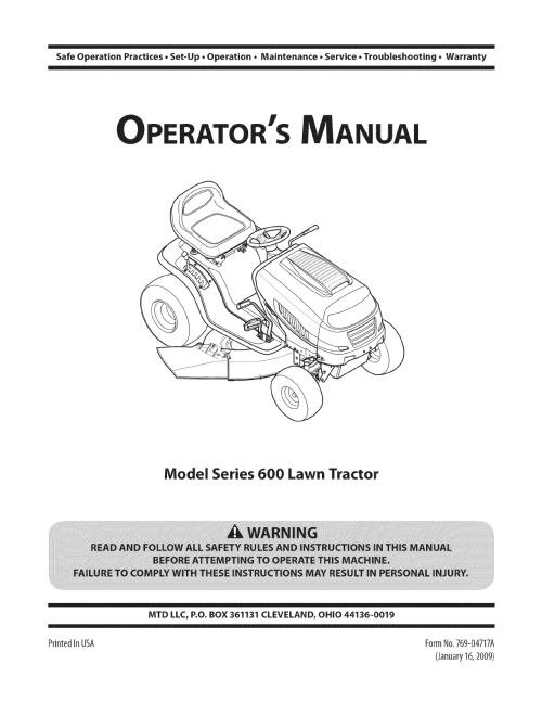 small resolution of  array mtd 13al605h057 user manual tractor manuals and guides 1109241l rh usermanual wiki