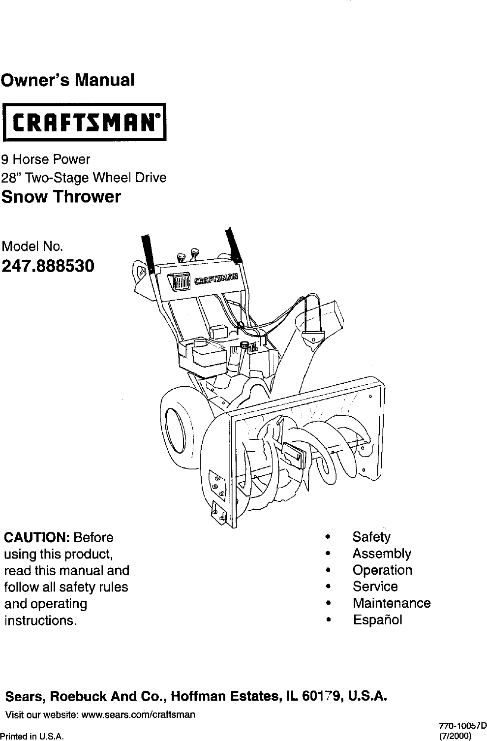 MTD 31AE558G099 User Manual 2 STAGE 9 HP 28 Manuals And
