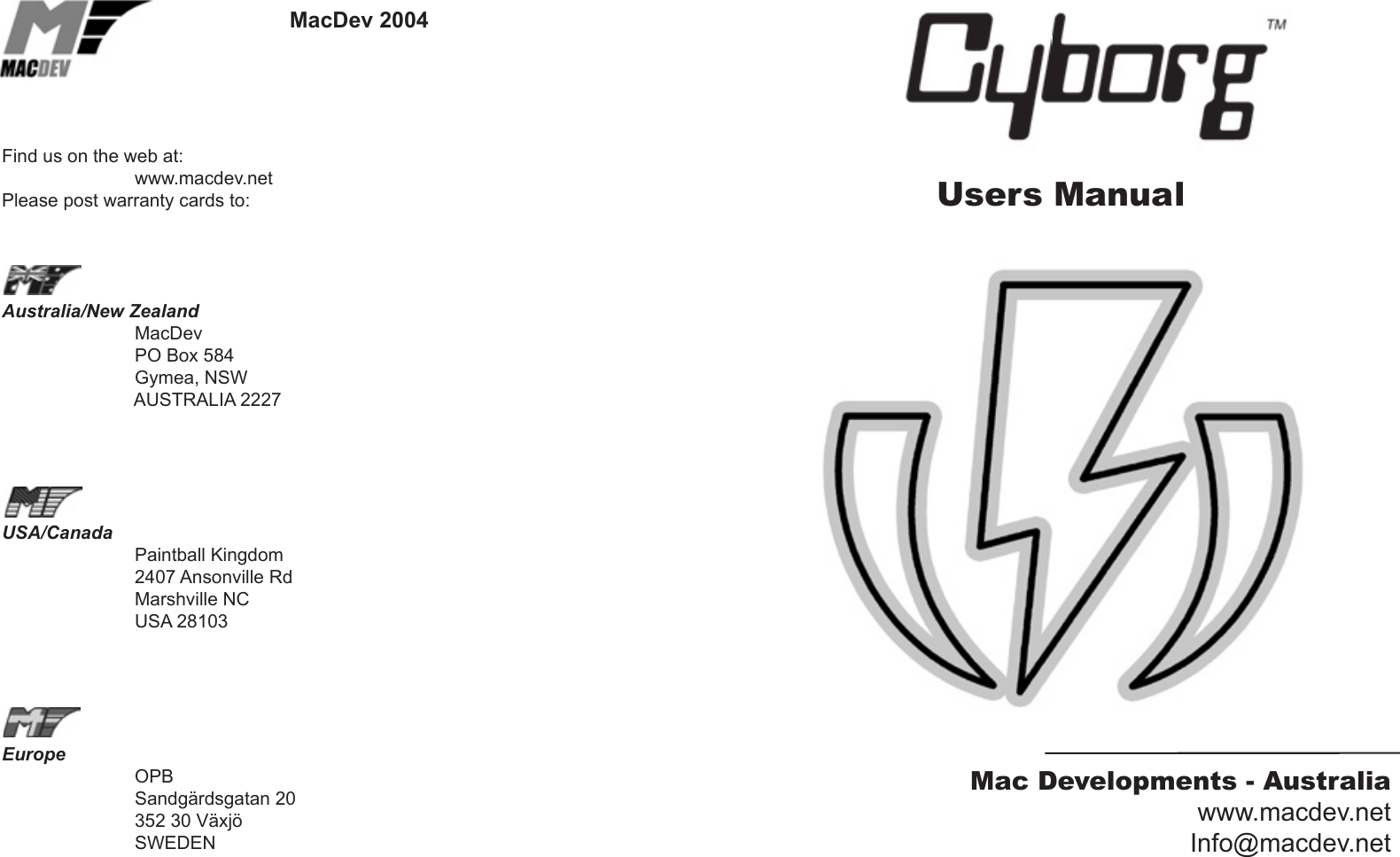 Macdev Cyborg V1 02 Users Manual