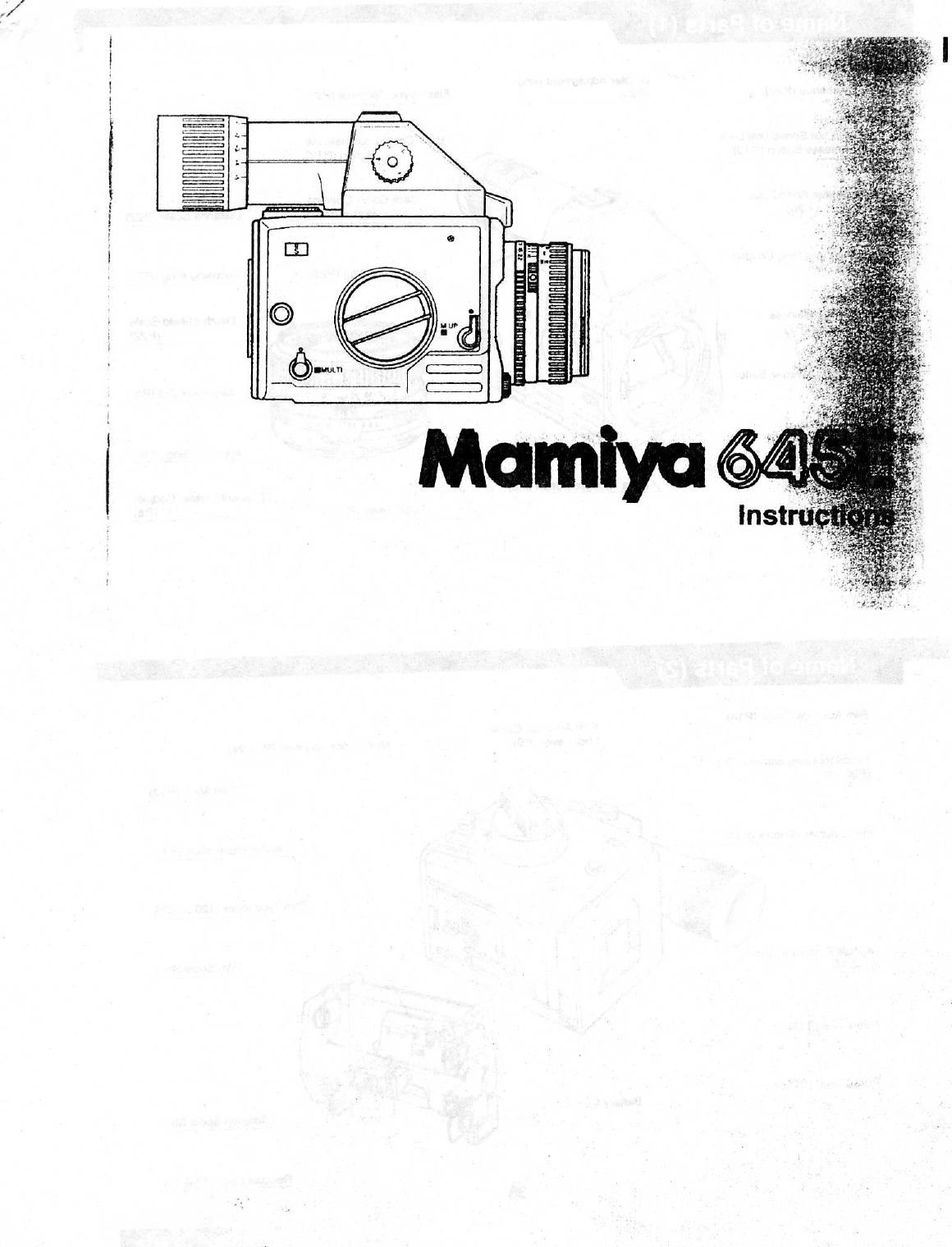 Mamiya 645 E Instruction Manual