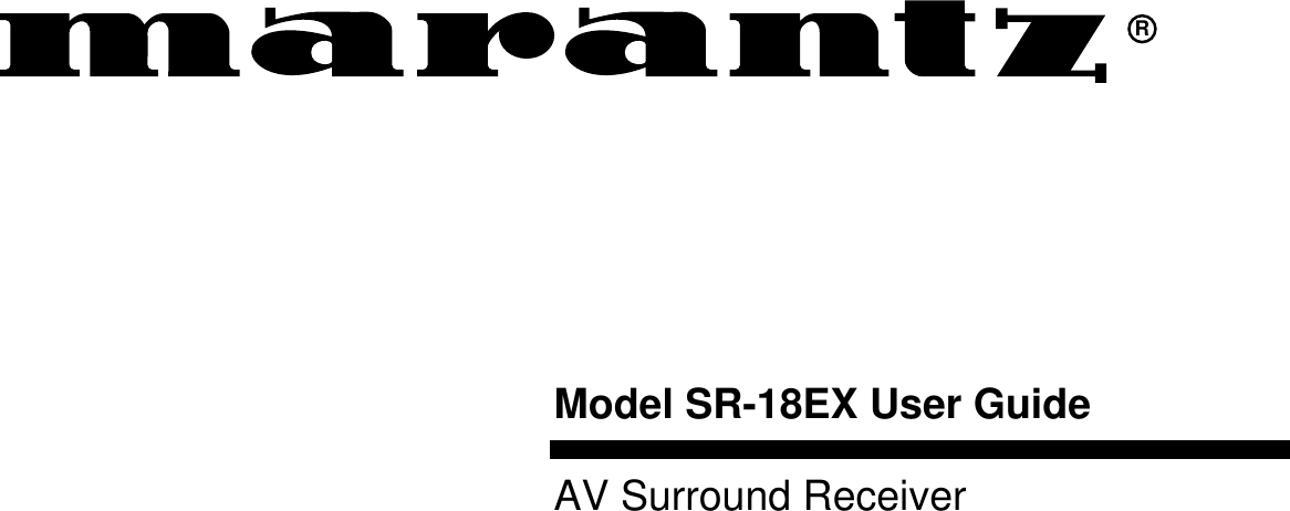 Marantz Sr 18Ex Users Manual 14EXU DFU (E)