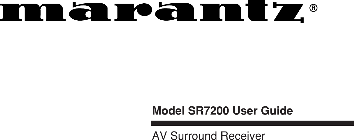 Marantz Sr7200 Users Manual SR 14EXU DFU (E)