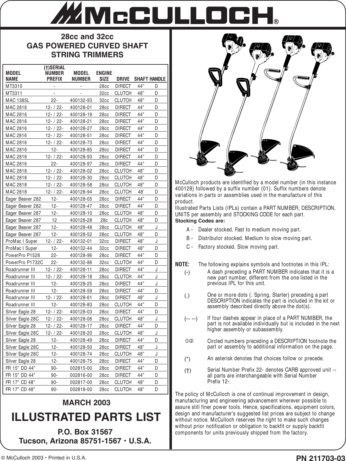 Mcculloch 28Cc Illustrated Parts Breakdown ManualsLib