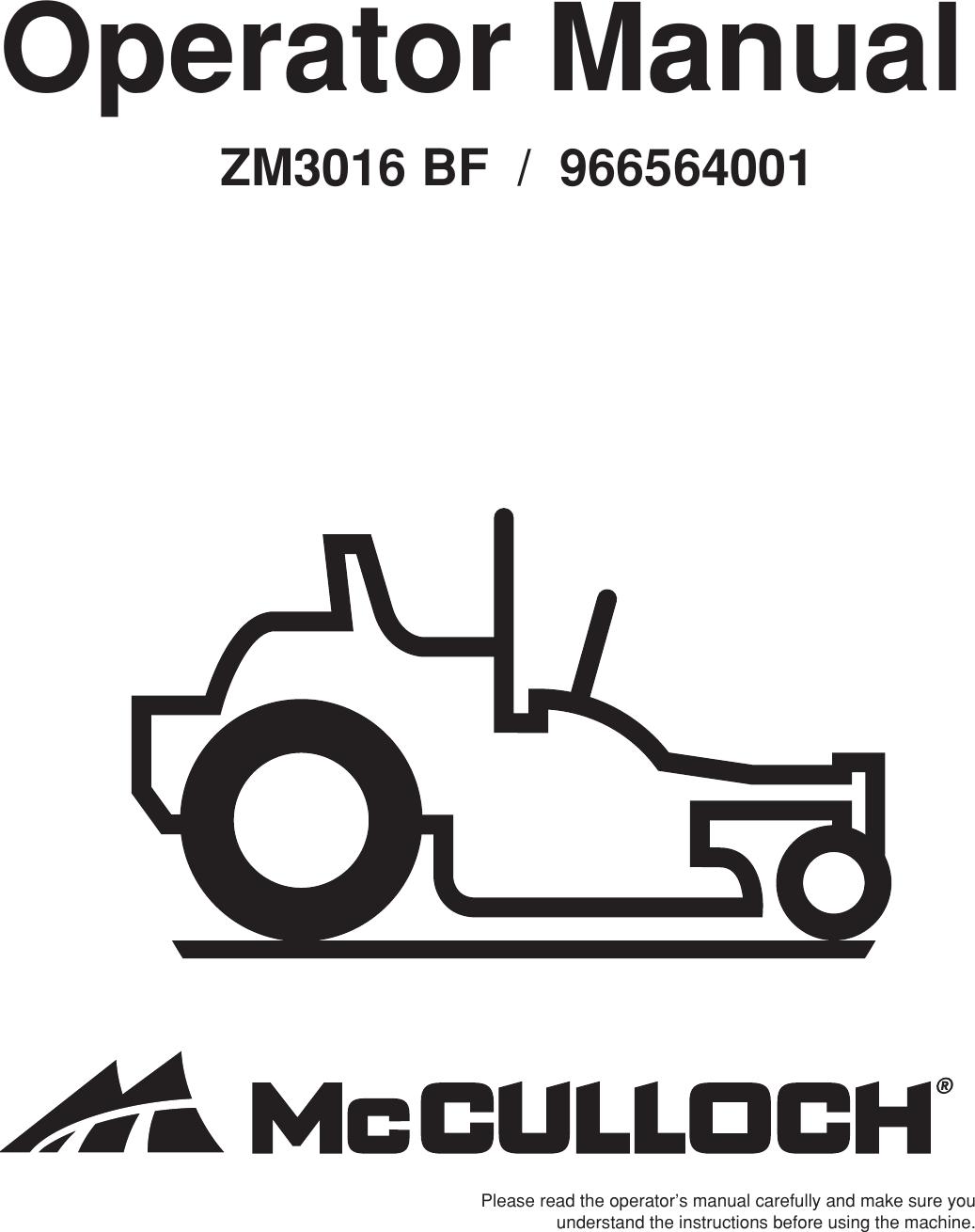 Mcculloch 966564001 Operators Manual OM, ZM3016 BF, 2010