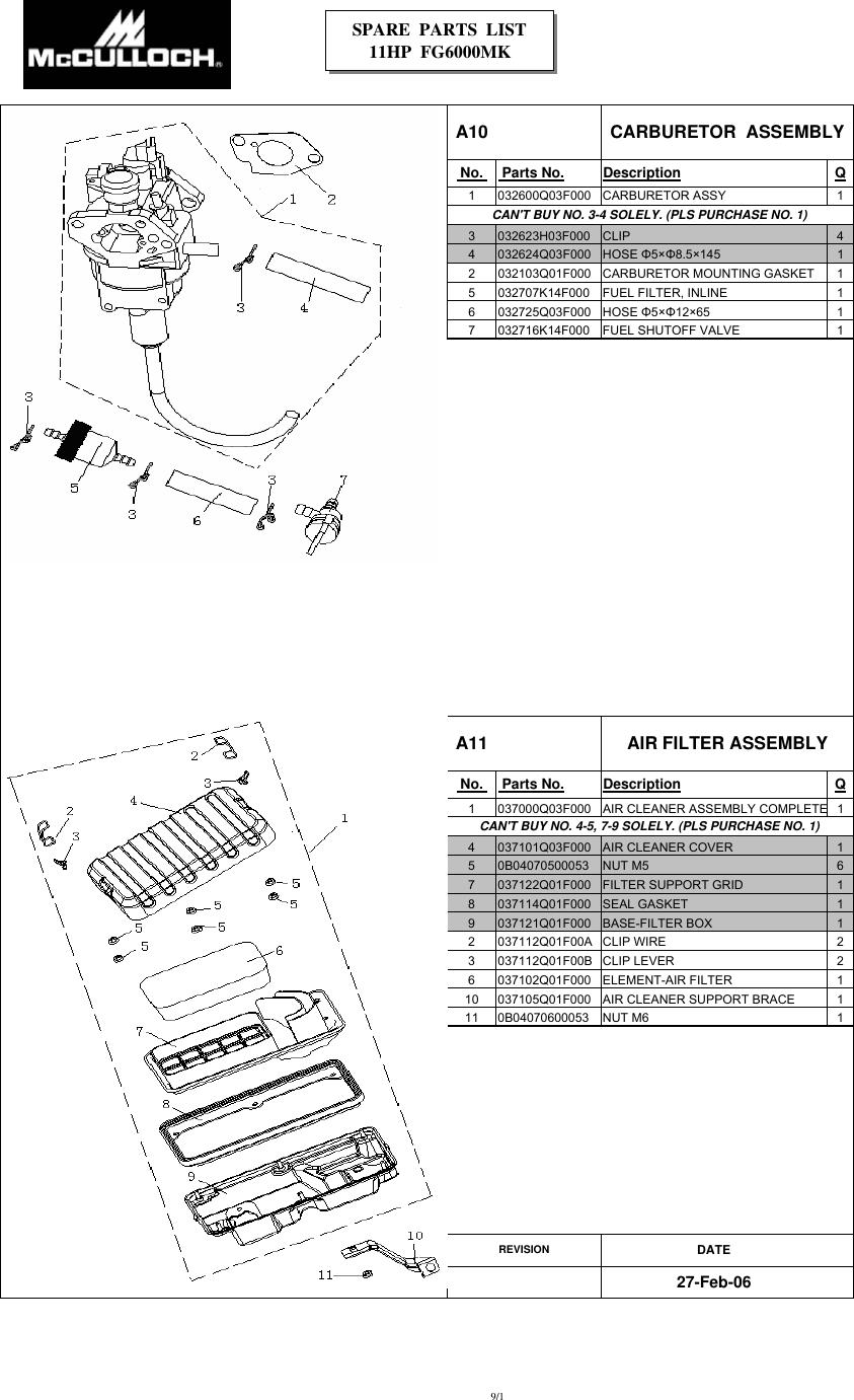 Mcculloch Fg6000Mkud C Parts List IPL, McCulloch, FG6000MK