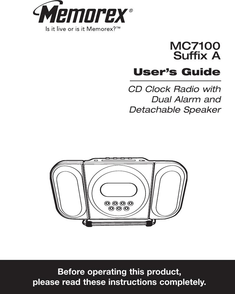 Memorex Mc7100 Users Manual