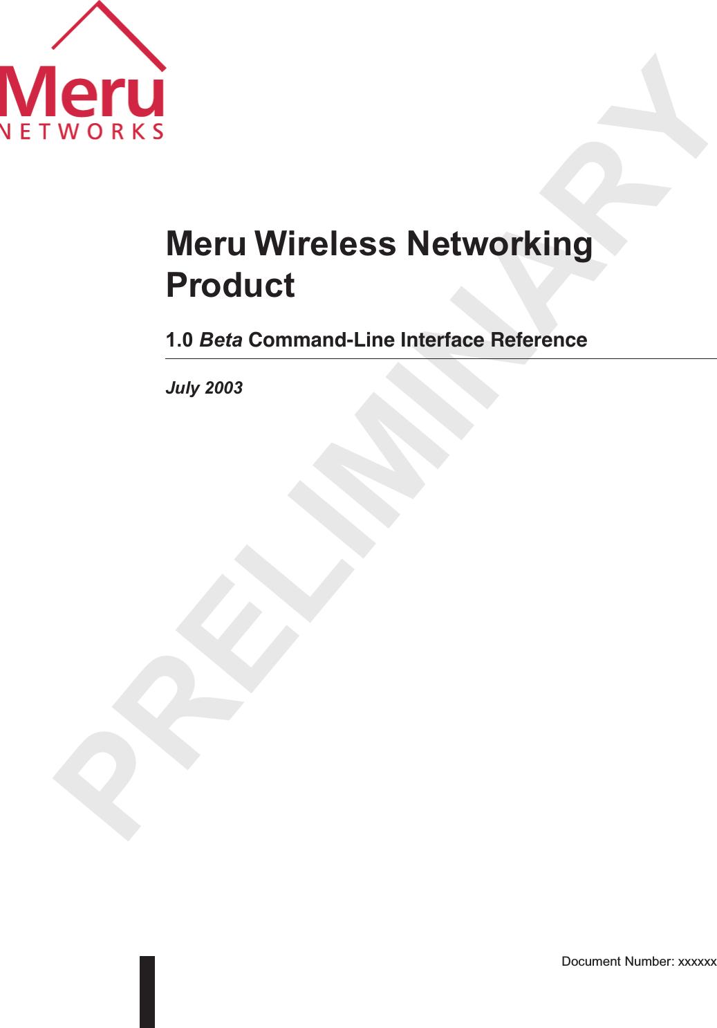 Meru Networks AP100 802.11b Access Point User Manual CLIref BK