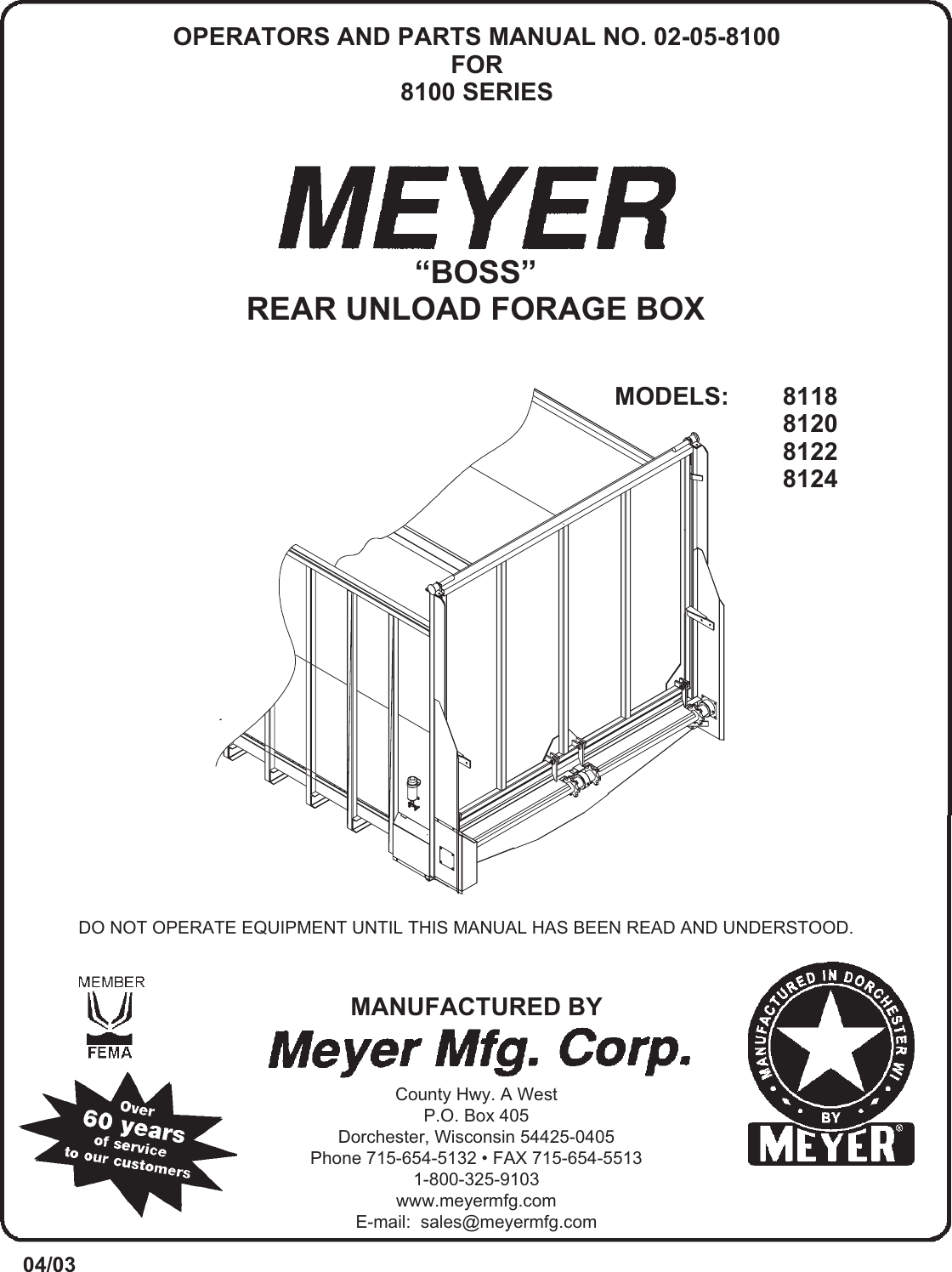 Meyer Cable Box 8100 Series Boss Rear Unload Forage Users