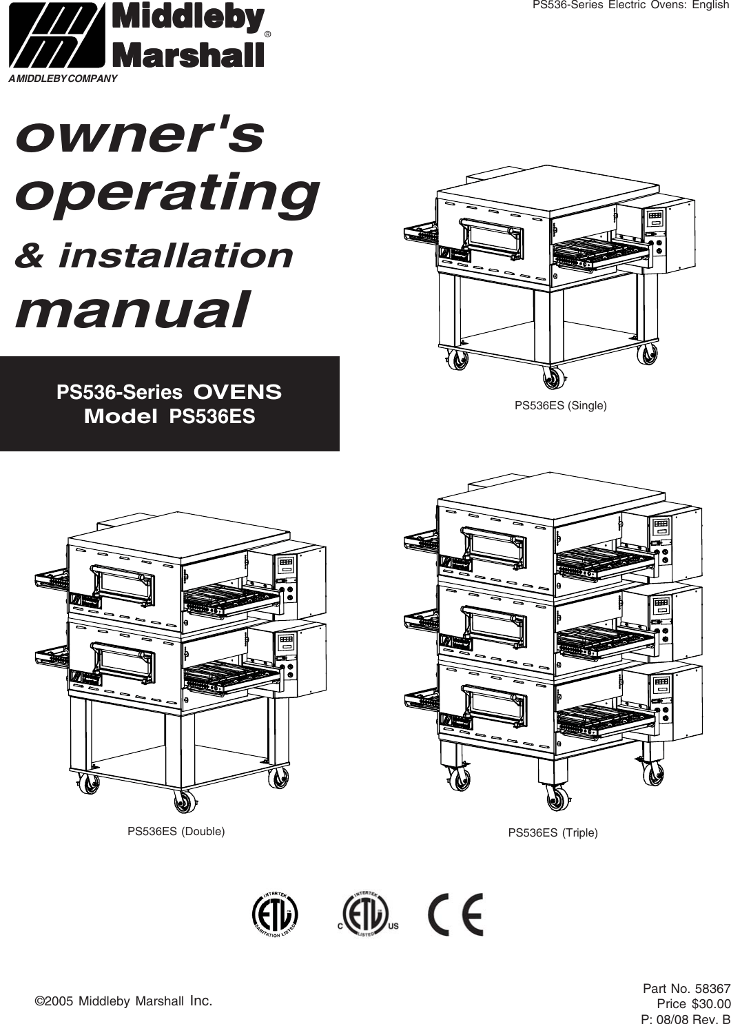 Middleby Marshall Ps536 Series Users Manual