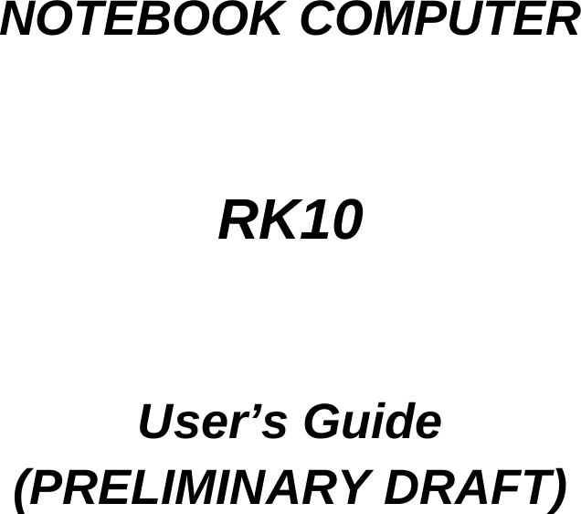 MilDef Crete RK10 Notebook Computer User Manual