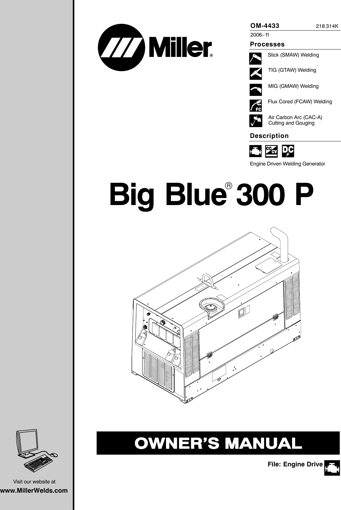 Miller Electric Big Blue 300 P Users Manual O4433k_mil